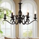 Black 3/5/6 Heads Chandelier Lamp Antique Metal Curved Arm Suspension Pendant Light
