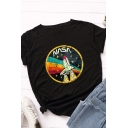 Cool Girls' Short Sleeve Crew Neck Letter NASA Rocket Pattern Relaxed T Shirt