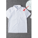 Simple Women's Short Sleeve Lapel Collar Button Down Pocket Patch Unicorn Embroidered Relaxed Shirt in White