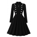 Vintage Ladies' Long Sleeve Lapel Neck Half Zip Double Breasted Midi Pleated Flared Dress in Black