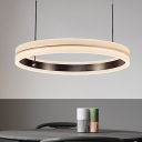 Circle Chandelier Lighting Contemporary Metal Coffee LED Hanging Light Fixture in Warm/White Light, 16