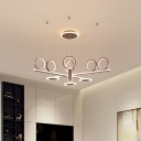 Modern Round Chandelier Light Fixture Acrylic Living Room LED Hanging Light in Coffee, Warm/White Light