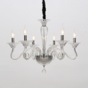 Metal Candle Pendant Chandelier Traditionary 6/8/10 Heads Ceiling Hanging Light in White/Black