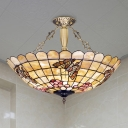Butterfly Semi Flush Light 4 Lights Shell Tiffany Style Ceiling Lamp in Brass for Bedroom