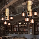 Bamboo and Iron Hanging Lights Asian 4 Light Creative Pendant Chandelier in Black for Restaurant