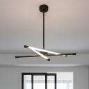 3 Lights Tube Ceiling Chandelier Light Modern Metal Bedroom Pendant Light with Hanging Rod