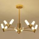Burst Chandelier with V Shaped Shade Modern Metal Dining Room Lighting in Polished Gold