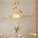 Metal Bird Nest Pendant Lighting with Egg White Glass Shade 3 Lights Decorative Chandelier Lamp
