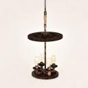 4 Lights Open Bulb Ceiling Chandelier Vintage Weathered Copper Metal Hanging Fixture
