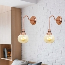 1 Light Wall Mounted Light Industrial Style Orb Clear/Amber Glass Sconce in Copper for Living Room