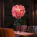 Industrial Globe Ceiling Light 1 Light Metal Pendant Lighting in Pink with Flower Decoration