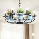 Black Candle Ceiling Chandelier Vintage Metal 6/8 Lights Dining Room Pendant Lighting with Plant Deco