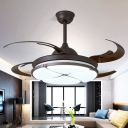 Round Living Room Ceiling Fan Traditional Metal LED Black Semi Flush Mount, Remote Control/Frequency Conversion