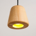 1 Bulb Restaurant Ceiling Lamp Chinese Beige Hanging Light Kit with Conical Wood Shade