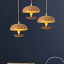 1 Head Round Hanging Light Japanese Wood Ceiling Suspension Lamp in Beige for Living Room