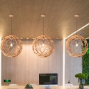 Spherical Pendant Lighting Asian Wood 1 Head Beige Ceiling Hanging Light, 16