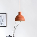 Modern 1 Head Down Lighting Red Domed Hanging Ceiling Light with Metal Shade