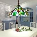 1 Light Pendant Light Tiffany Grapes Cut Glass Suspension Lighting Fixture in Green for Dining Room