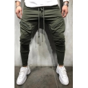 Sport Style Whole Colored Drawstring Waist Zipper Pocket Skinny Casual Pants