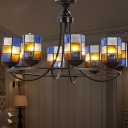 Blue 4/6/8 Lights Hanging Chandelier Mediterranean Stained Art Glass Cylinder Pendant Light Fixture for Living Room