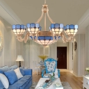 Yellow/Blue Domed Chandelier Lamp Baroque Stylish 9/11 Lights Cut Glass Suspension Lighting Fixture