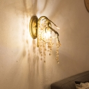Brass 2 Bulbs Wall Lamp Traditional Clear Crystal Bead Raindrop Wall Sconce Light for Living Room