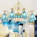9/11 Lights Conical Hanging Chandelier Mediterranean Blue Glass Pendant Light Fixture for Kitchen