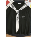 Preppy Girls Short Sleeve Crew Neck Patched Pocket Letter Print Oversize Tee with Stripe Tie