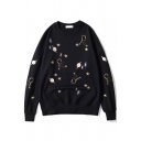 Girls Lovely Star Planet Embroidery Long Sleeve Round Neck Casual Loose Sweatshirt
