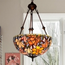 2-Light Bedroom Hanging Chandelier Victorian Red/Blue/Yellow Drop Lamp with Dome Handcrafted Stained Glass Shade