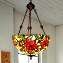 Floral Ceiling Chandelier Tiffany-Style Hand-Crafted Glass 2 Heads Red/Pink/Purple Drop Pendant for Bedroom