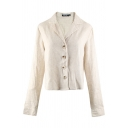 Basic White Long Sleeve Notch Collar Button Down Linen and Cotton Fitted Shirt for Women