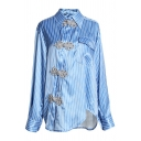 Chinese Style Blue Long Sleeve Lapel Neck Frog Button Flap Pocket Stripe Print Asymmetric Hem Relaxed Shirt for Female