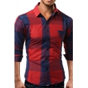 Casual Plaid Printed Chest Pocket Long Sleeve Button Up Slim Fitted Daily Shirt for Men