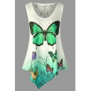 Trendy Sleeveless Round Neck Butterfly Pattern Lace Patched Asymmetric Hem Loose Tank Top for Ladies
