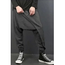 Mens Unique Plain Low Crotch Baggy Harem Pants Cotton Trousers