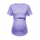 Simple Plain Short Sleeve V-Neck Button Detail Slim Fit Nursing T-Shirt for Women