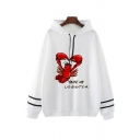 LOBSTER PIVOT Letter Print Striped Long Sleeve Drawstring Graphic Hoodie for Women