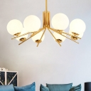8 Heads Round Ceiling Chandelier Contemporary Opal Glass Hanging Pendant Light in Gold