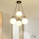 Modern 4 Heads Hanging Chandelier Black-Gold Orb Pendant Lighting Fixture with White Glass Shade