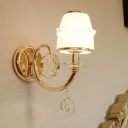 White Glass Barrel Wall Mounted Lamp Vintage 1/2 Heads Living Room Sconce Light Fixture in Gold
