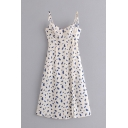 Cute White Sleeveless Bow Tie Strap All Over Floral Print Pleated Short A-Line Cami Dress for Girls