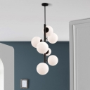 7 Heads Round Ceiling Chandelier Modernist White Glass Hanging Pendant Light in Black