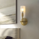 1 Head Bedroom Wall Lamp Modern Brass Sconce Light Fixture with Cylinder Clear Glass Shade