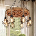 6/8 Lights Living Room Ceiling Chandelier Pendant Farmhouse Black Hanging Fixture with Globe Metal Shade