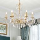 Gold 3/6/8 Lights Chandelier Light Rustic Crystal Candlestick Hanging Pendant for Bedroom