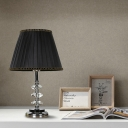 Fabric Black Night Lamp Tapered Single Head Traditionalism Table Light with Metal Round Pedestal