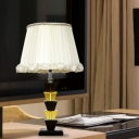 White Trapezoid Nightstand Light Traditionalism K9 Crystal Single Light Living Room Table Lamp