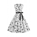 Chic Formal Sleeveless Surplice Neck Bow Tie Waist Geo Printed Zipper Back Midi Pleated Flared Dress for Women