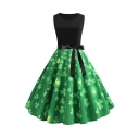 Amazing Formal Sleeveless Round Neck Bow Tie Waist All Over Clover Patched Midi Pleated Green Swing Dress for Women